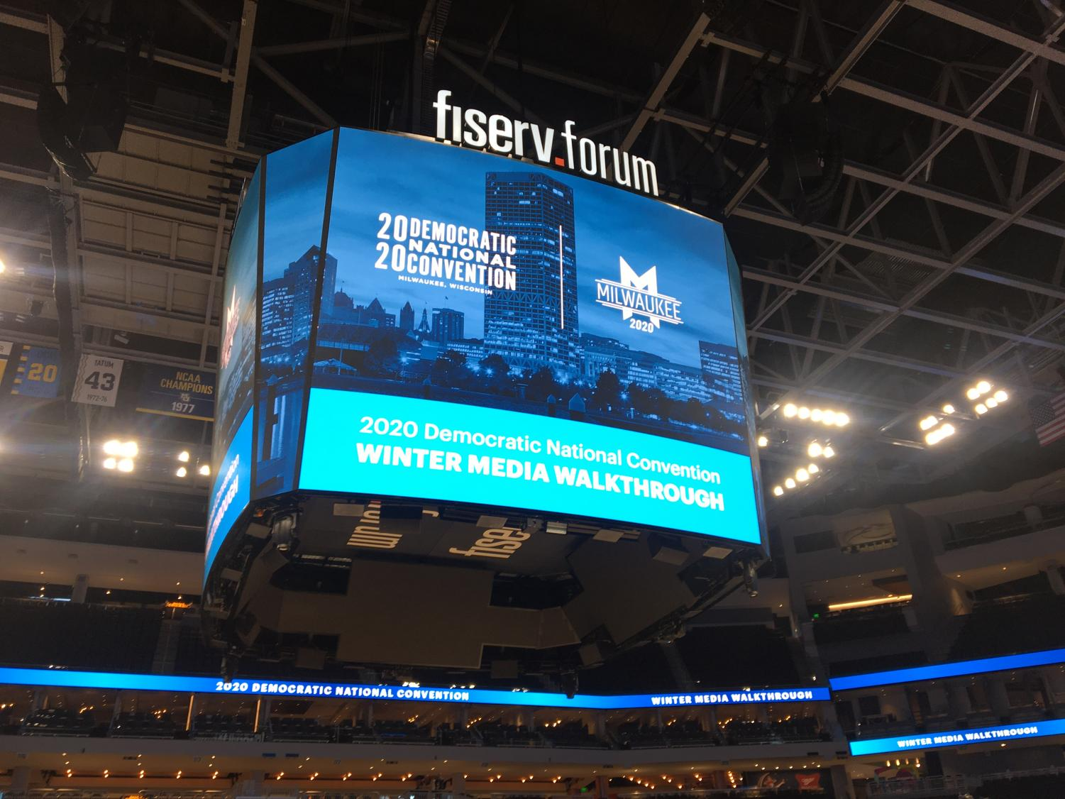The sign above the court in Fiserv Forum welcomed media members to a Democratic National Convention media walkthrough Jan. 7.