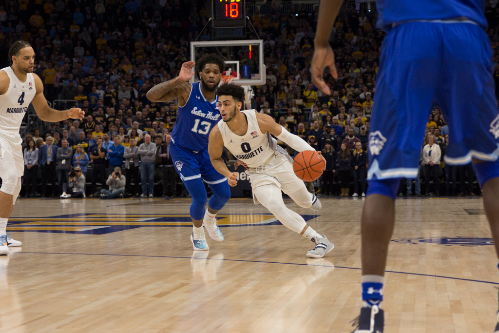 Markus Howard (0) dribbles the ball in Marquette's 70-66 win over Seton Hall at Fiserv Forum Jan. 12, 2019. (Marquette Wire stock photo).
