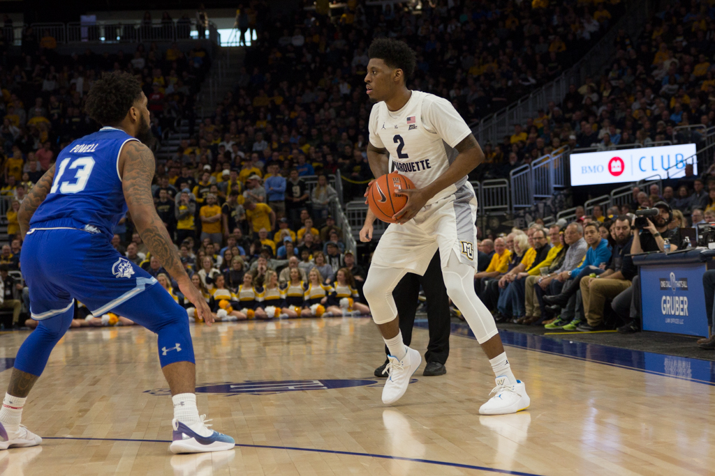 Sacar Anim (2) scored 14 points in Marquette's 70-66 victory against Seton Hall Jan. 12, 2019. (Marquette Wire stock photo).