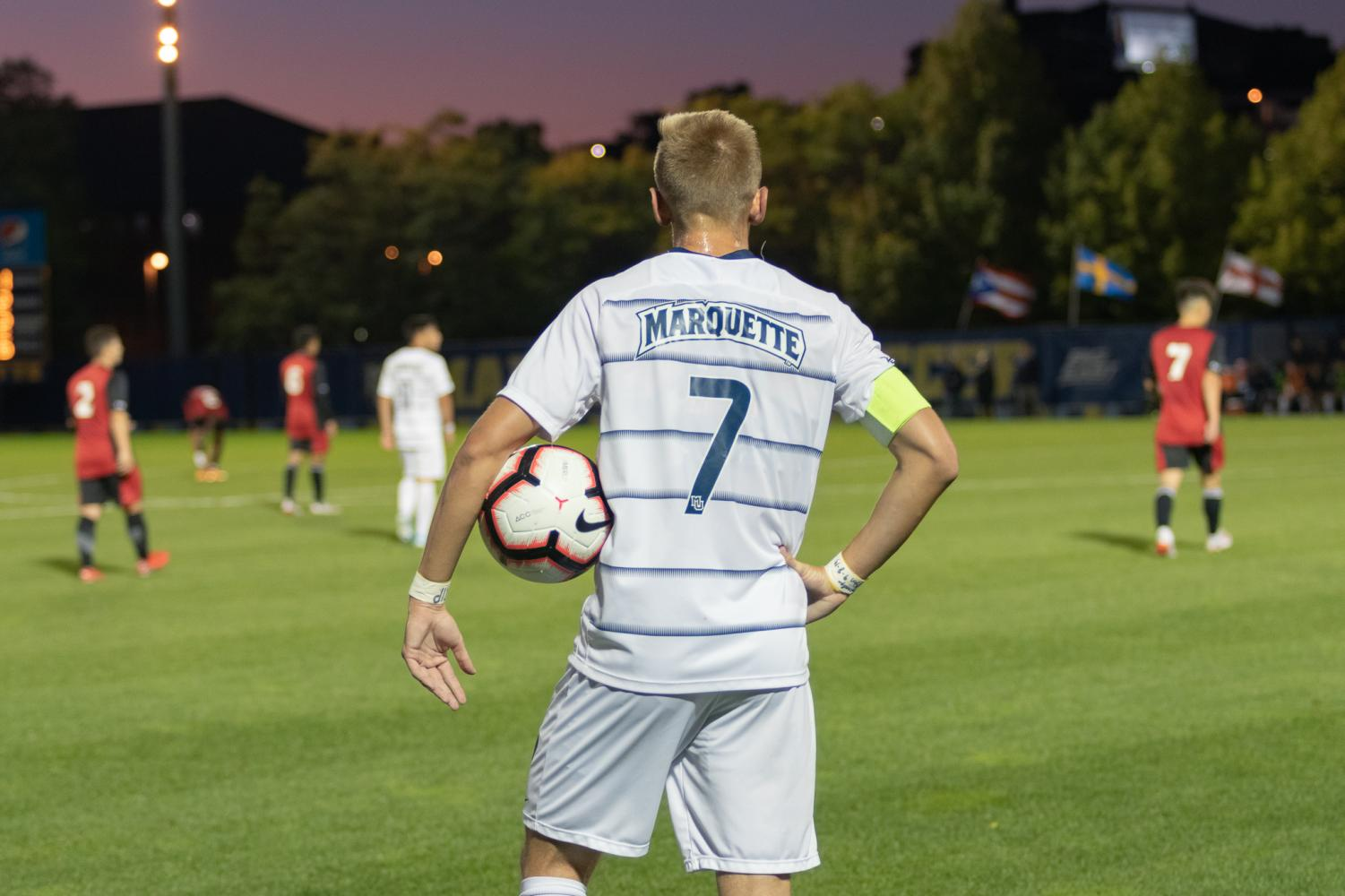 Defender Patrick Seagrist (7) was a two-time All-BIG EAST First Team selection and led Marquette and the conference with seven assists.