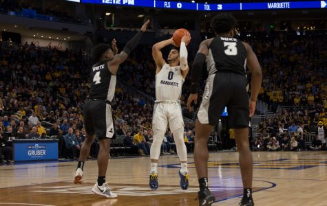 Markus Howard (0) scored 24 points in Marquette's 79-68 win at Fiserv Forum Jan. 20 on Dwyane Wade Day.
