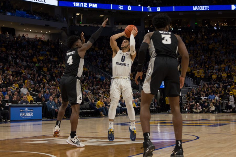 Markus Howard (0) scored 24 points in Marquettes 79-68 win at Fiserv Forum Jan. 20 on Dwyane Wade Day.