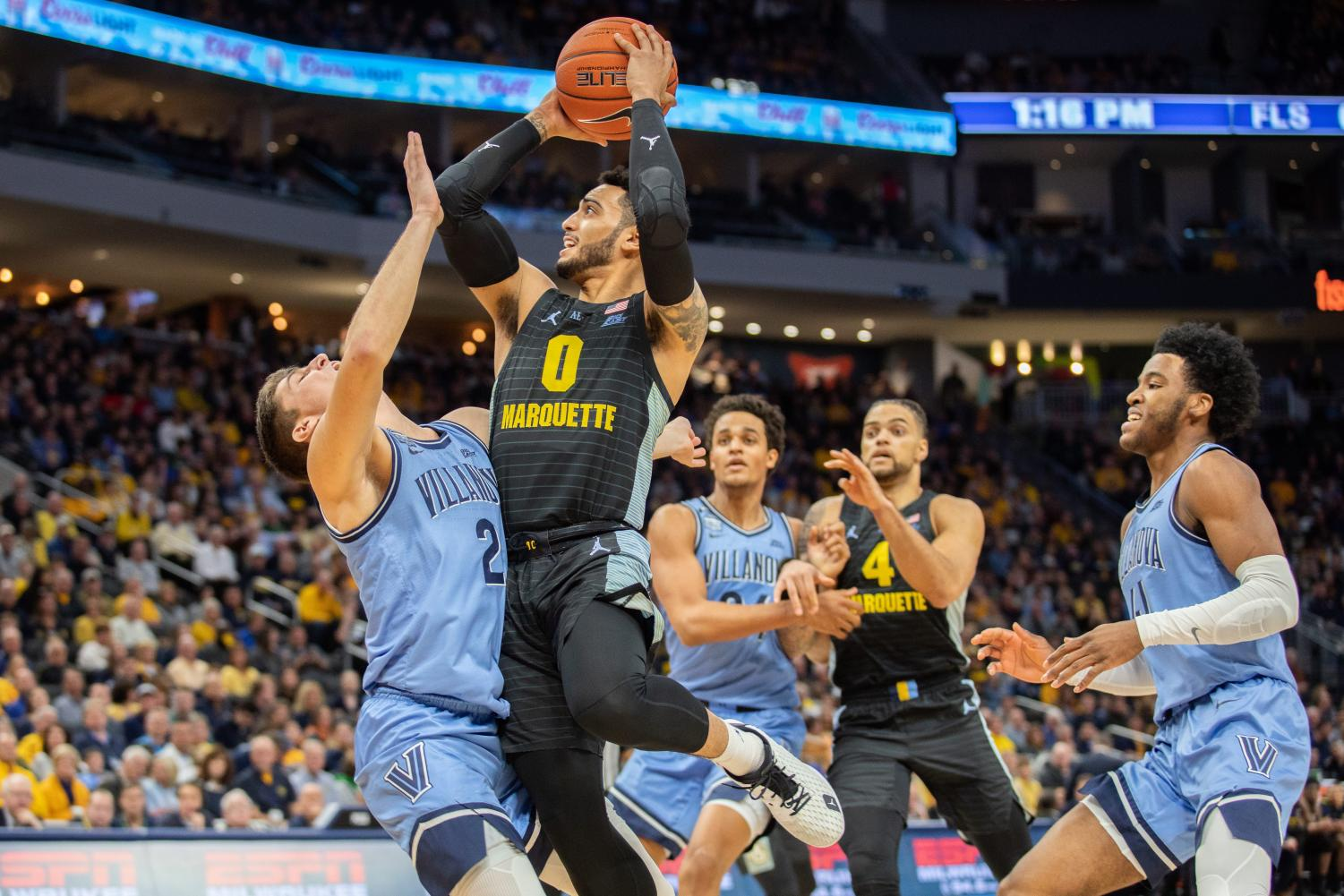 Markus Howard (0) recorded a game-high 29 points and season-high eight rebounds Saturday afternoon in Marquette's victory over No. 10 Villanova.