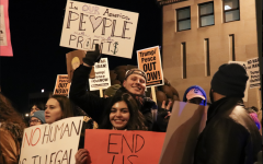 Students protest Trump campaign rally