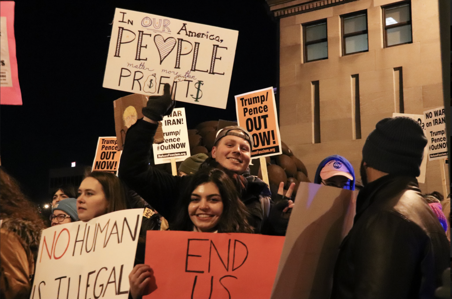 Eric Rorholm, chair of the Marquette College Democrats, attended the protest.