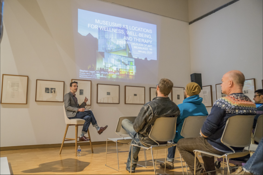 Stephen Legari spoke on the benefits of art therapy at the Haggerty Museum of Art.