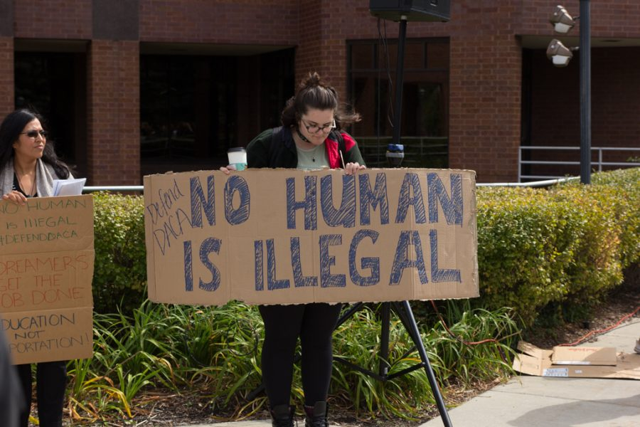 Members of the Marquette community organized a demonstration in support of DACA in September 2017.