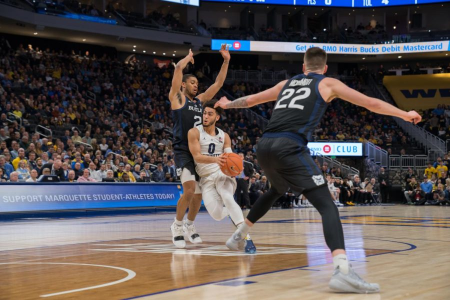 Markus+Howard+%280%29+dribbles+in+Marquette%27s+79-69+win+over+Butler+at+Fiserv+Forum+Feb.+20%2C+2019.