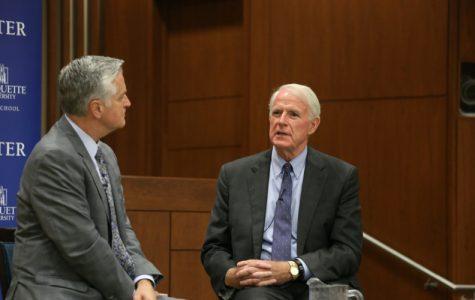 Mayor Tom Barrett spoke with host Mike Gousha at
