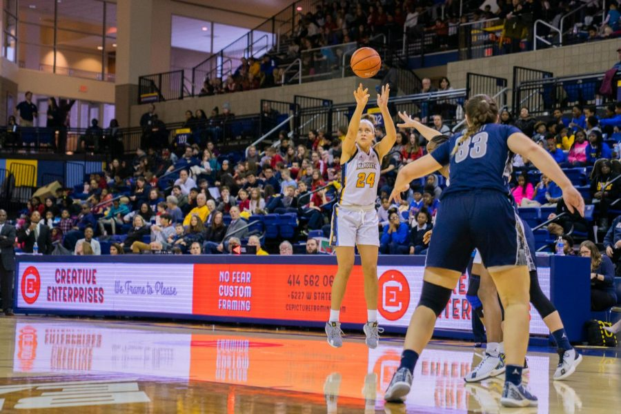 Selena Lott (24) attempts a 3-pointer in Marquette's 73-51 win over Georgetown on Jan.24.