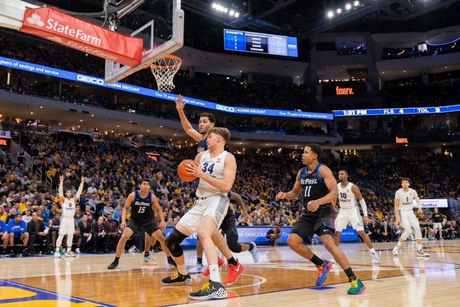 Jayce+Johnson+%2834%29+had+11+points+and+six+rebounds+in+Marquette%27s+win+over+DePaul+Saturday.