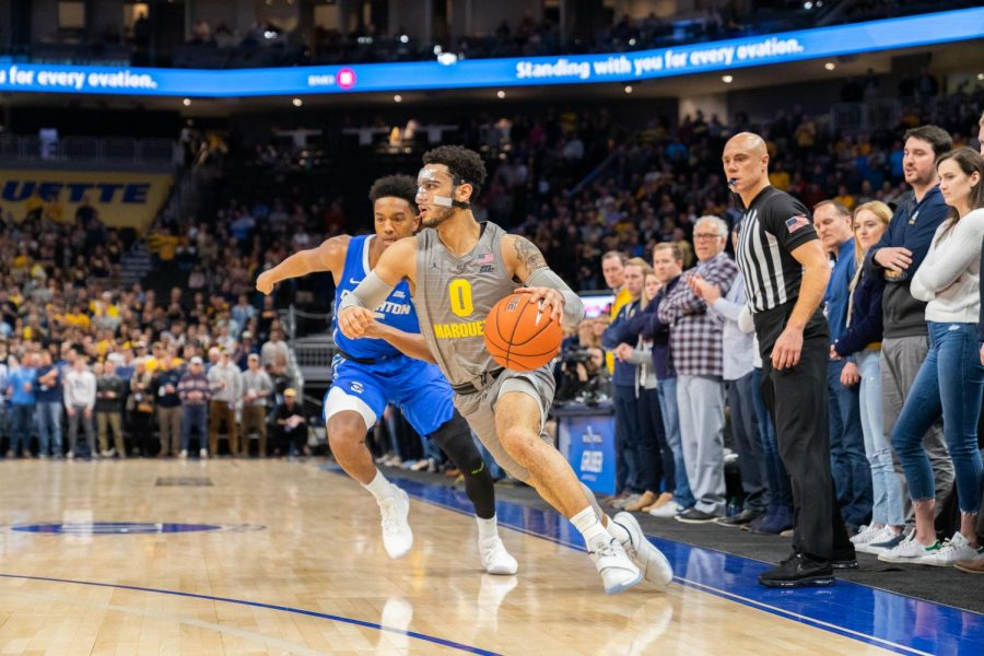 Markus+Howard+%280%29+dribbles+in+Marquette%27s+73-65+loss+to+Creighton+Tuesday.+