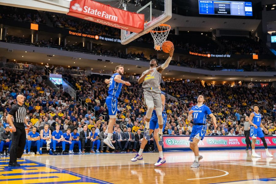 Sacar Anim (2) goes up for a layup in Marquette's 73-65 loss to Creighton. It is the Golden Eagles' second loss at home this season.
