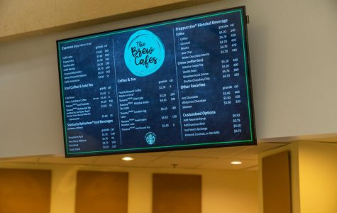 The Brew provides caloric values on menus around campus.