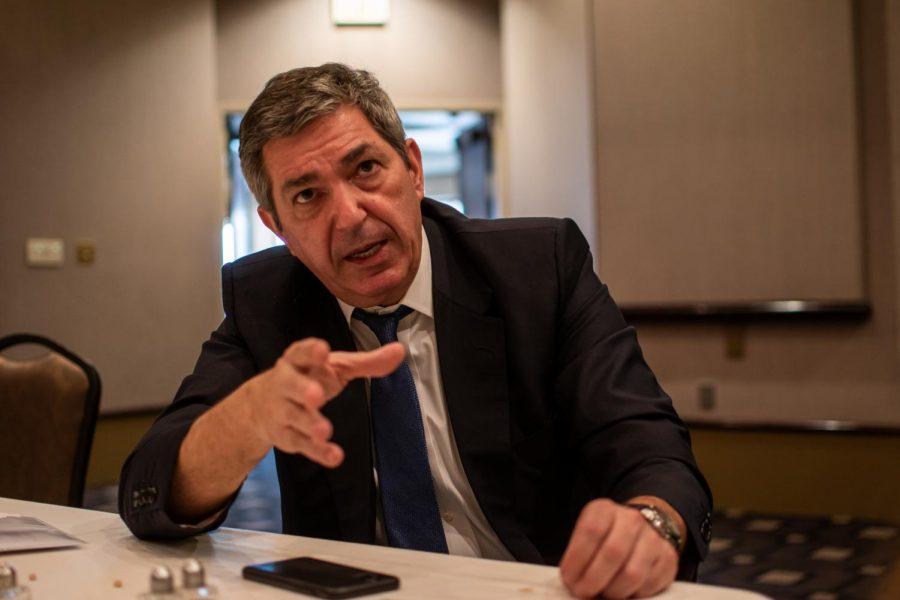 Stavros Lambrinidis spoke to eight faculty members and three graduate students last week.