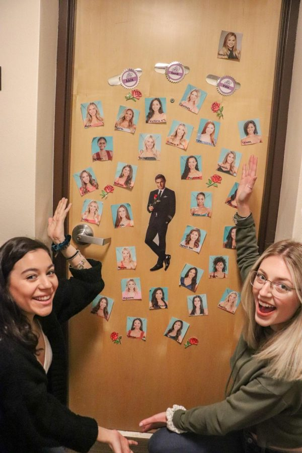 Adela Luna and Emma Mehrings decorated their door with the bachelor, Peter Weber, and the contestants from the show.