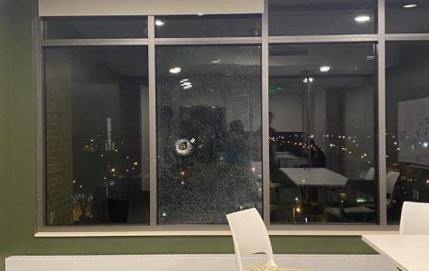 A bullet entered through a glass window in The Commons. Photo courtesy of Jacquelyn Carter.