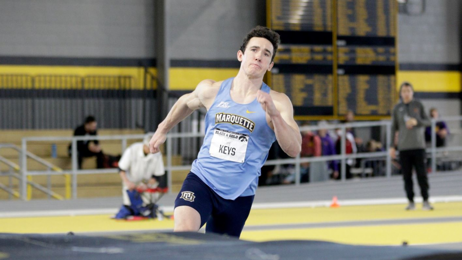 Joe+Keys+broke+his+former+record+in+the+heptathlon+by+300+points+at+the+Windy+City+Rumble.+%28Photo+courtesy+of+Marquette+Athletics.%29