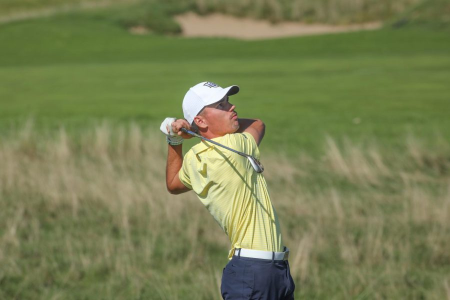 Hunter+Eichhorn+swings+his+club+at+the+Marquette+Intercollegiate+at+Erin+Hills.+%28Photo+courtesy+of+Marquette+Athletics.%29+