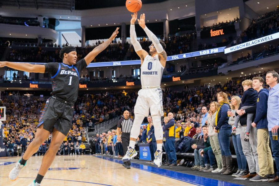 Markus+Howard+%280%29+attempts+a+3-pointer+in+Marquette%27s+76-72+win+over+DePaul+on+Feb.+1.+