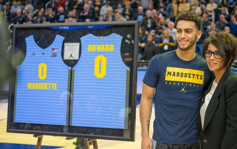 Markus Howard poses with his mother on Senior Day Feb. 29.