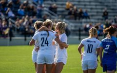Marquette celebrates after a goal in its 1-1 double overtime tie to Creighton on Oct. 6.