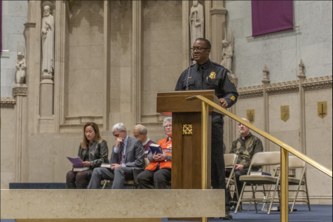 Jeffrey Norman, District Three Commander of the Milwaukee Police Department, speaks at the vigil.