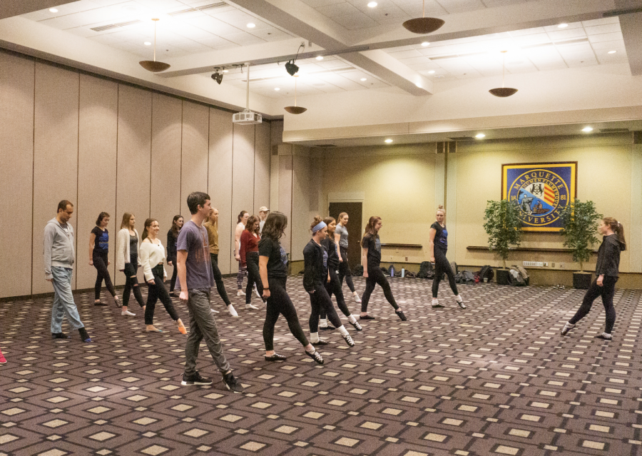 Students from Marquette's Saoirse Irish Dance team practice for their showcase, currently scheduled for March 29 at the Varsity Theatre.
