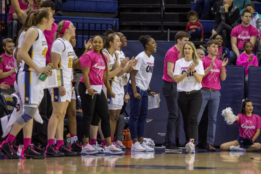 Megan Duffy walks up the sideline in Marquettes 76-54 win over Butler on Feb. 16 on Play4Kay Day.