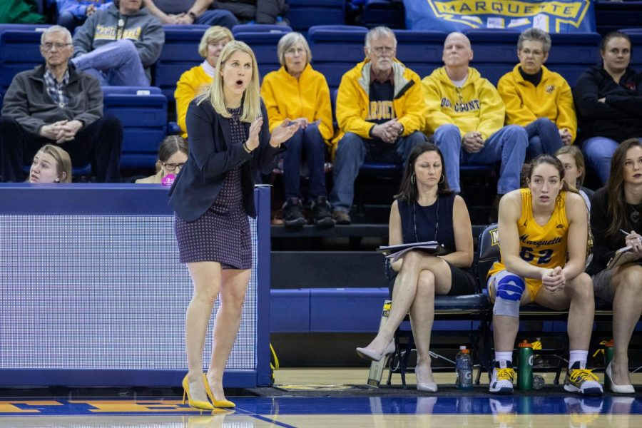 Marquette head coach Megan Duffy coaches from the sidelines in the Golden Eagles matchup against St. Johns Jan. 10.