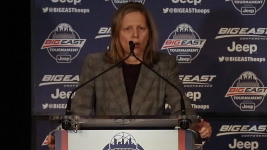Val Ackerman speaks to the media about COVID-19 at the BIG EAST awards ceremony.