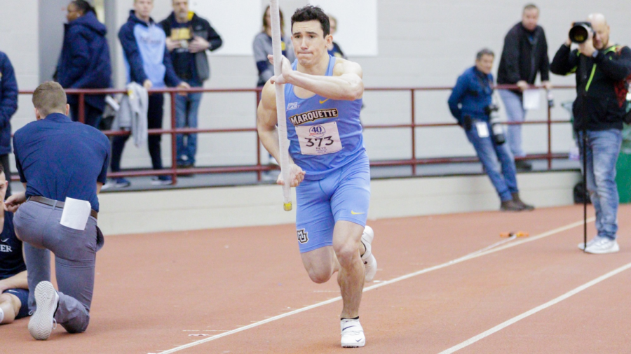 Joe+Keys+competed+in+pole+vault+at+the+2020+BIG+EAST+Indoor+Championships.+%28Photo+courtesy+of+Marquette+Athletics.%29