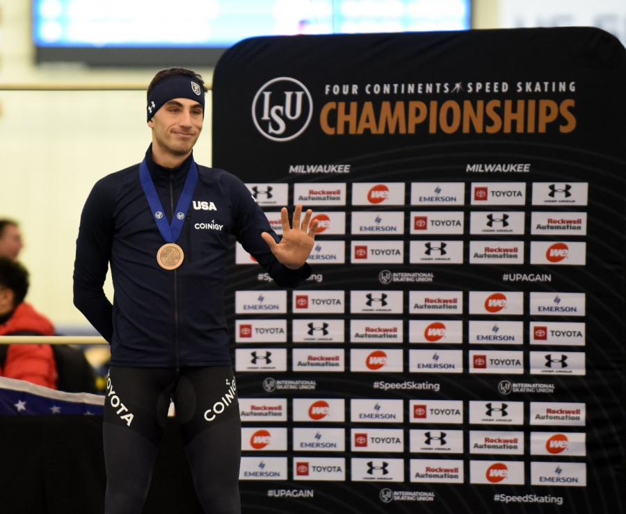 Emery Lehman, a senior in the College of Engineering, placed 3rd in the Men's 5000m race at the ISU Four Continents Championship in Milwaukee Jan. 31-Feb. 2. (Photo courtesy of Joseph Dorff.)