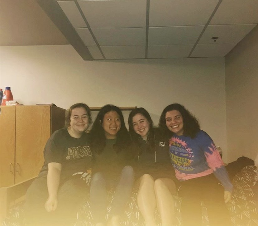 Ariana Madson (far right) poses with her roommates for a picture on their last night as first-year students in spring 2018. From L to R: Natalie Schmaus, Alissa Wuorinen and Kate Lawlor. Photo courtesy of Ariana Madson.