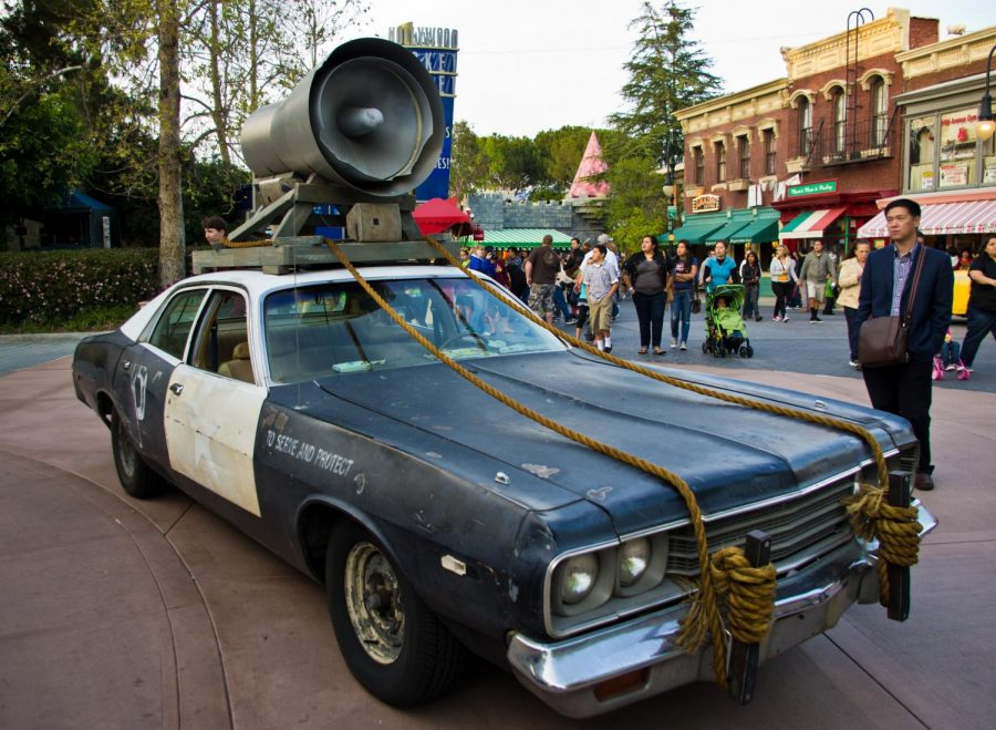A replica of the Bluesmobile sits on display at Universal Studios Hollywood in 2011. Photo courtesy of Wikimedia Commons.
