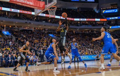 Sacar Anim (2) puts up a layup in Marquette's loss to Seton Hall on Senior Day Feb. 29.