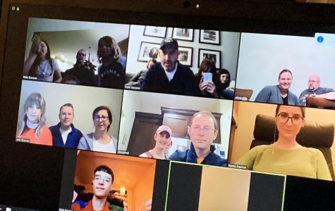 Grace Dawson (in top middle frame) meets with her extended family on a Zoom call to celebrate her grandmother's birthday. Photo courtesy of Grace Dawson.