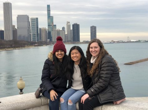 From L to R: Aarya Bavare, Zoe Comerford and Brianna Mitchell take a trip to downtown Chicago Jan. 2. Photo courtesy of Zoe Comerford.