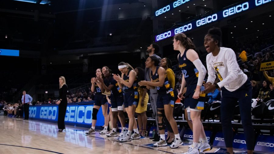 Marquette%27s+bench+cheering+during+the+BIG+EAST+Tournament+Championship+game+March+9.