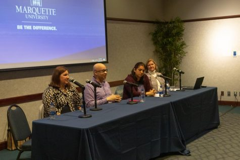Members of the Marquette community share ways to get involved in the Democratic National Convention at an event in the AMU Oct. 22, 2019.