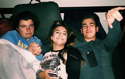 From L to R: Izzy Melia, Reese Seberg and Nick Cinquepalmi enjoy residence hall life by watching movies and relaxing in October 2019. Photo courtesy of Reese Seberg.