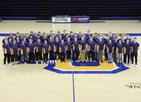 The Esports club poses on the Al McGuire court. (Photo courtesy of Meredith Cavaleri.)
