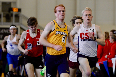 Derek Gross runs in Allendale, Michigan at the Grand Valley State University meet Feb. 14. (Photo courtesy of Marquette Athletics.)