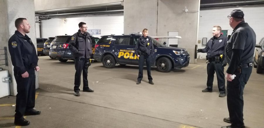 MUPD officers stand six feet apart and have meetings in areas with open air, like the parking garage, in order to maintain social distancing.