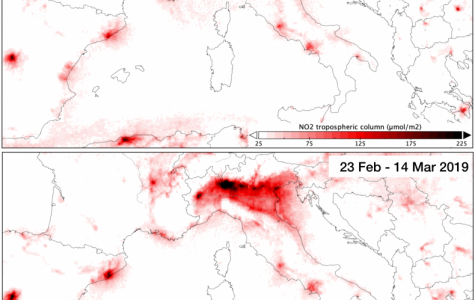 Nitrogen dioxide levels in Italy for March 2020 and 2019. Graphic via Newsweek.
