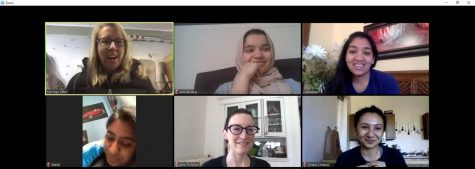 Aminah Beg meets with her colleagues on the leadership team of the Ott Memorial Writing Center on a Zoom call April 21. Top row (L to R):  Rebecca Nowacek, Aminah Beg and Nikita Deep. Bottom row (L to R): Maria Shenny, Jenn Fishman and Ariana Chapas. Photo courtesy of Aminah Beg.