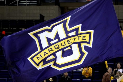 Marquette flag. (Photo courtesy of Marquette Athletics.)