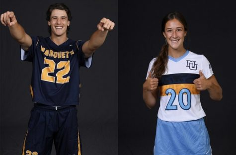 Cole (left) and Carrie (right) from a post on the Marquette SAAC Instagram page. (Photo courtesy of Carrie Froemming.)