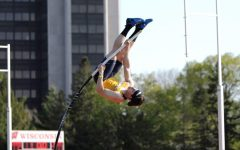 James Kubik pole vaulting. (Photo courtesy of Marquette Athletics.)