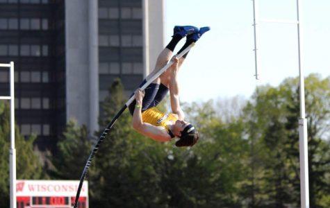James Kubik pole vaulting. (Photo courtesy of Marquette Athletics.)